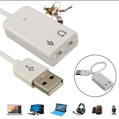For PC Laptop Windows USB 2.0 3D Virtual 7.1 Channel Audio Sound Card Adapter