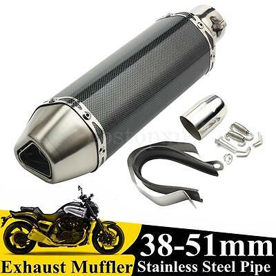 38-51mm Motorcycle Bike Carbon Fiber Exhaust Muffler Pipe DB+ Removable Silencer