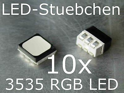 10x 3535 RGB SMD LED PLCC6 Black Face Diffused