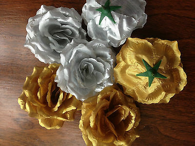 3 Large Artificial Simulation Silk Gold/Silver Camellia Rose Flower Head 10 cm