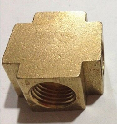 """Cross 4 Way Brass Pipe fitting Equal Female Connector 3/8"""" BSP For Grease System"""