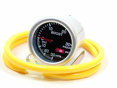 Smoked 52mm Turbo Boost gauge Psi Diesel Audi BMW Skoda With Yellow Silicone