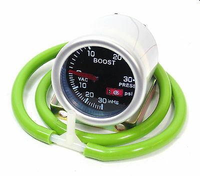 Smoked 52mm Turbo Boost gauge Psi Mini Fiat Vauxhall Mazda With Green Silicone
