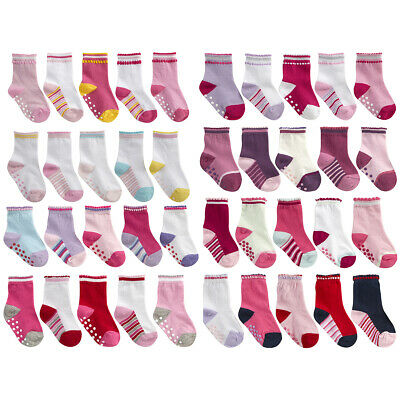 10-15 Pairs Baby Babies Girls Socks Heel & Toe Grippers Cotton Rich By TICK TOCK