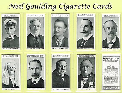 BAT (B.A.T.) - Notabilities 1917 #1 to #25 Cigarette Cards