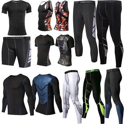 Gym Mens Compression Armour Base Layer Tights Long Pants Tank Tops T-Shirts V164