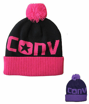 Converse Girls Beanie Woolly Booble Hat One Size Fits All Pink or Purple