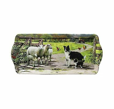 Collie Dog & Sheep In Farm Scene Small Sandwich Tray by Macneil Studios Design