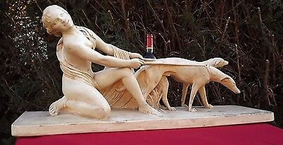"""Rare Huge 29"""" girl greyhound Art Deco Nouveau french heavy plaster nude erotic"""