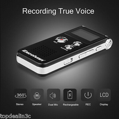 Rechargeable Digital Sound Recorder Steel Voice Dictaphone MP3 Player 8GB USB