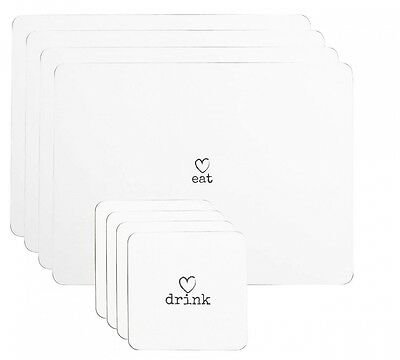 Set of 4 Placemats & 4 Coasters White Charm Love Heart Dinner Table Setting Mats