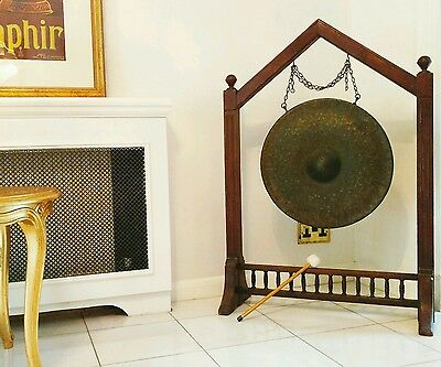 LARGE Victorian bronze gong ANCIENT INDONESIAN temple style URBAN HEALING Shaman
