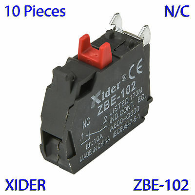 (10 PCs) ZBE-102 (NC) Contact Block Replaces Tele Replacement for XB4 &XB5 Model