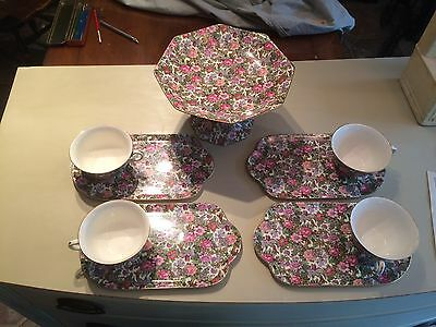 Royal Crown Ducal Chintz Compote And 4 Cups W Sandwich Plates