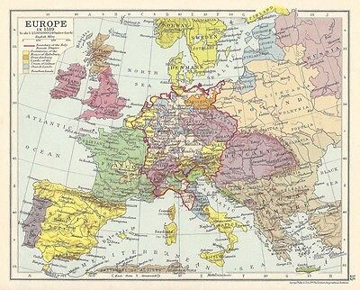 EUROPE In the Year 1519 Vintage Map 1928