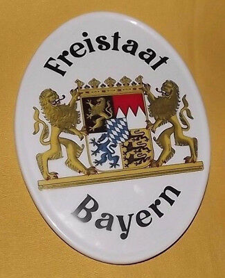 Vintage Trade Sign German Lions shop tavern porcelain 1950 Bayern Bavaria