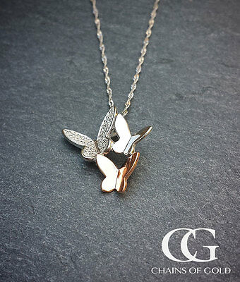 """9ct Two Colour White Rose Gold & Diamond Butterfly Slider Pendant Necklace 18"""""""