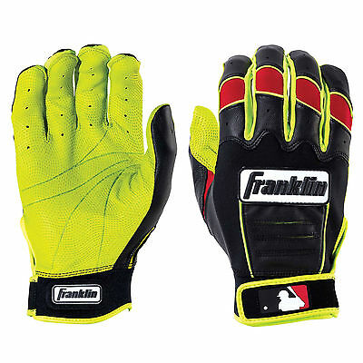 Franklin CFX Pro Revolt Adult Batting Gloves - Optic Yellow/Red - XL