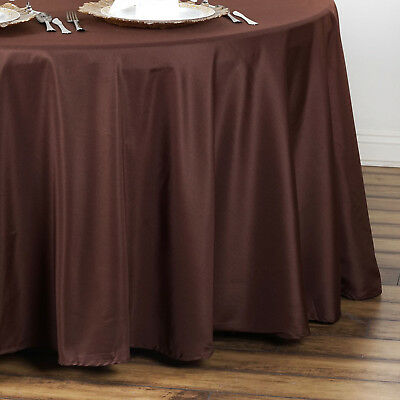 "10 CHOCOLATE BROWN 90"" ROUND POLYESTER TABLECLOTHS Wholesale Tabletop Supplies"