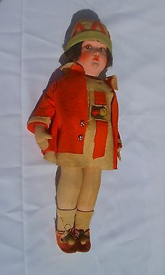 Antique Cloth Doll in Felt Clothes-c.1930's