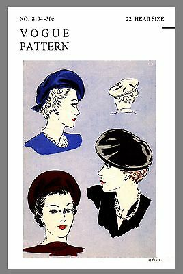 Vintage Vogue Millinery Beret Hat Fabric material sewing pattern # 8194 Reprint
