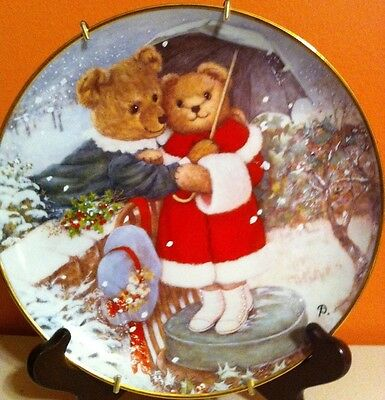 """Franklin Mint LE Plate Bear Collection Christmas / Snow """"Fur Ever Yours"""""""