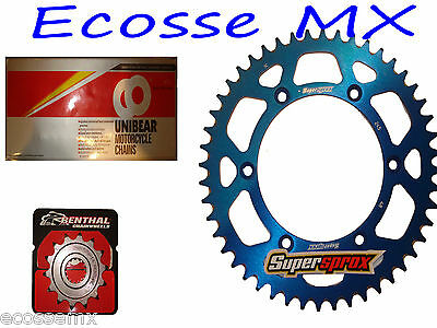 Yamaha YZ125 Gold Heavy Duty Chain and Supersprox Blue Sprocket Kit