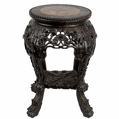 China 20 Jh. Holz Hocker - A Chinese Marble Inset Hardwood Stool / Stand Chinois