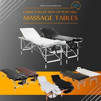 Portable Aluminium Wooden 2/3/4 Fold Massage Table Bed Chair Therapy 60/70cm