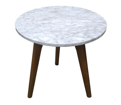 Round Marble Side Coffee Wine Table Scandi Design Solid Timber Home Furniture