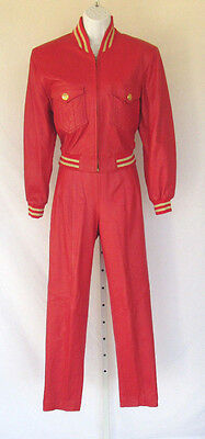 VINTAGE 1980s LILLIE RUBIN RED LEATHER JACKET & PANTS SUIT MED JACKET SZ 6 PANT
