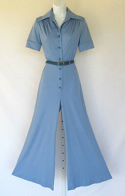 VINTAGE 1960s 70s MOD JT JODY OF CALIFORNIA SLATE BLUE JUMPSUIT POLY WIDE LEGS