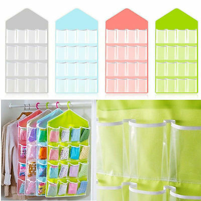 16 Pockets Clear Over Door Hanging Bag Shoes Rack Hanger Storage Organizer Save