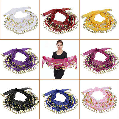 3 Rows 128 Gold Coins Belly Dance Costume Hip Scarf Skirt Belt Wrap Waist I6