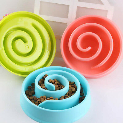 Pet Dog Cat Slow Eating Food Bowl Anti Gulping Feeder Puzzle Healthy Bowl