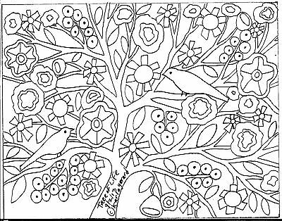 RUG HOOK CRAFT PAPER PATTERN Tree Of Life FOLK ART PRIMITIVE Karla Gerard