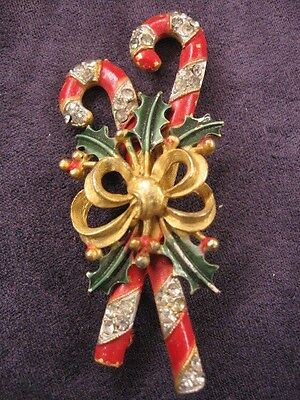 Weiss Christmas Canes pin brooch,Y71