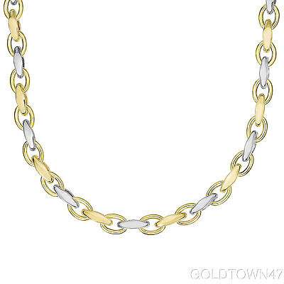 14kt Yellow+White Gold Shiny Marquis+Oval Oval Link Bracelet & Necklace