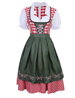 US STOCK Dirndl 3 IN 1 Dress German Ethnic Bavarian Oktoberfest Costume BIG SALE