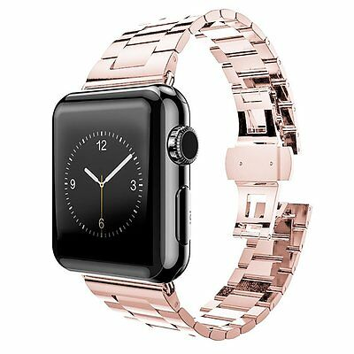 38mm Rose Gold Stainless Replacement Watch Strap band for Apple Watch Series 1 2