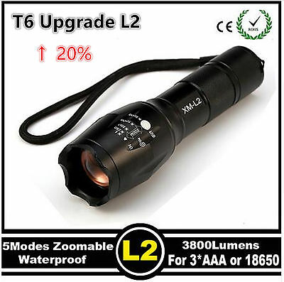 E17 CREE XM-L2 3800Lumens cree led Torch Zoomable  LED Flashlight+Free Holster