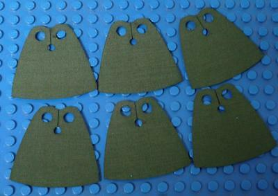 6x CUSTOM Capes For LEGO Minifig - Standard Cape BodyWear Khaki Green