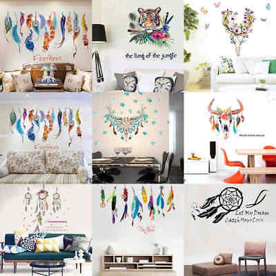 Wall Sticker Vinyl Birds Flying Feather Room Home Decal Mural Art Decor Flower