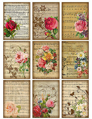 Vintage Floral Music Sheet ~ Card Toppers / Scrapbooking / Card Making