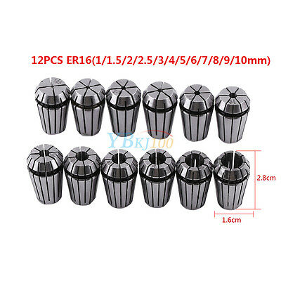 12Pcs ER16 1-10mm Precision Spring Collet Set for CNC Milling Lathe Chuck Tool