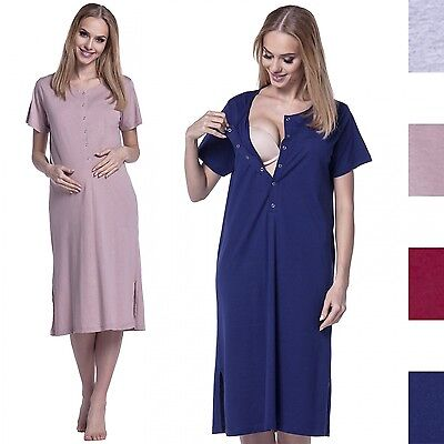 Happy Mama. Women's Maternity Nursing Breastfeeding Nightdress Shirt Gown. 389p