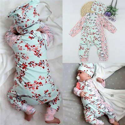 Newborn Infant Baby Girl Kids Floral Romper Jumpsuit Bodysuit Clothes Outfit Set