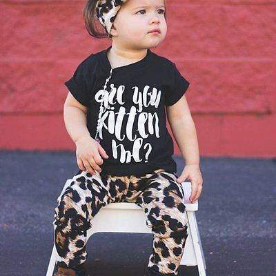 Toddler Kids Baby Girls Outfits Clothes T-shirt Tops+Leopard Long Pants 2PCS Set
