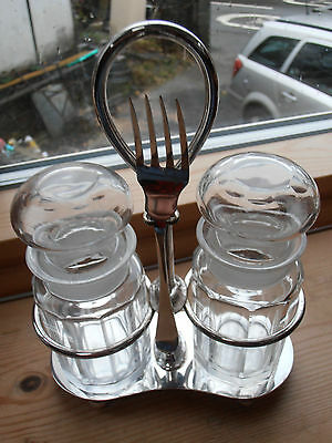 Vintage silver plated condiment set 2 jar and matching fork 1858-1896