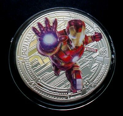 "New Zealand 2015 Silver Plate Marvel The Avengers ""ironman"" Coin"